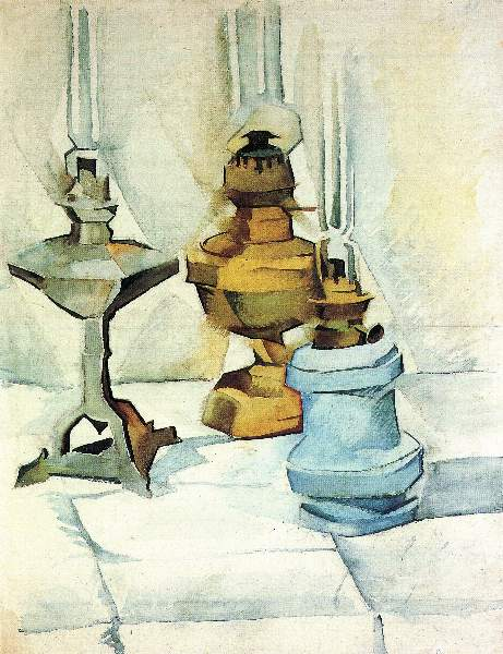 Juan Gris - Still life with three lamps