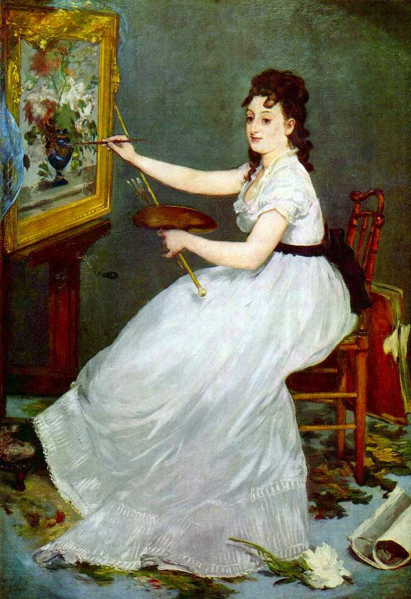 Manet - Portrait of Eva Gonzales in Manet's studio