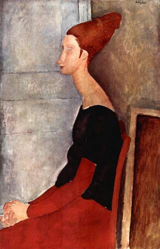 Modigliani - Portrait of Jeanne Hebuterne in dark clothes