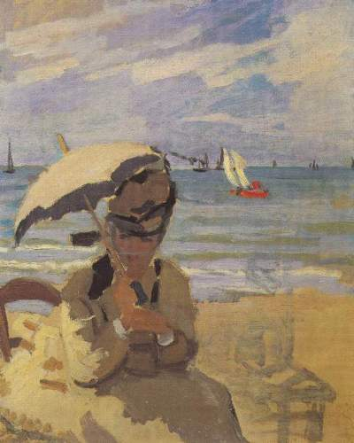 Monet - Camille Monet on the beach at Trouville