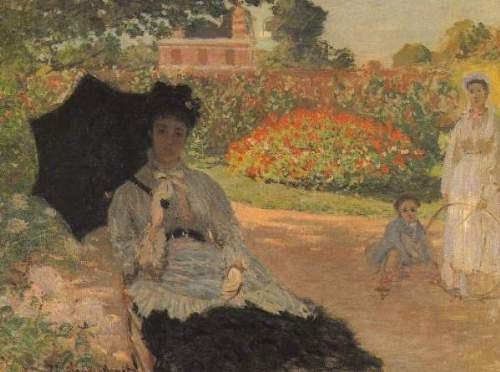 Monet - Camille in the garden with Jean and his nanny