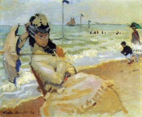 Monet - Camille on the beach at Trouville