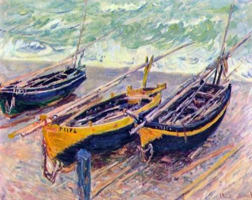 Monet - Dock of Etretat (three fishing boats)