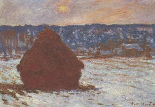 Monet - Haystacks, snow, covered the sky