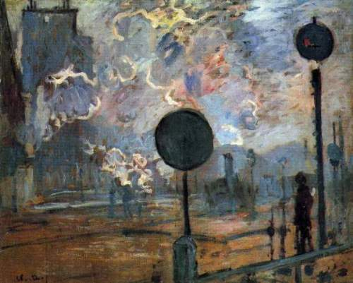 Monet - Outside the station Saint-Lazare, The signal