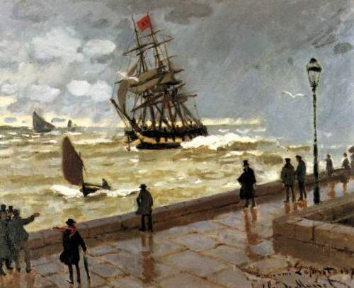 The Jetty of le Havre in bad weather