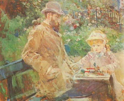 Morisot - Eugene Manet and his daughter in Bougival