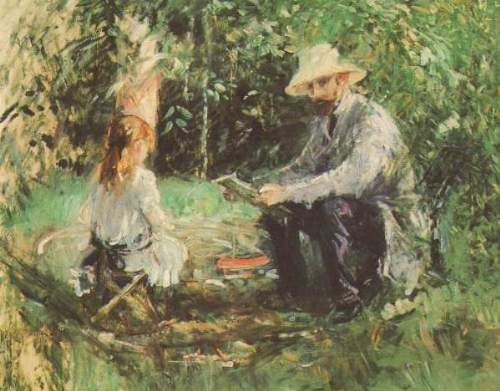 Morisot - Eugene Manet and his daughter in the garden