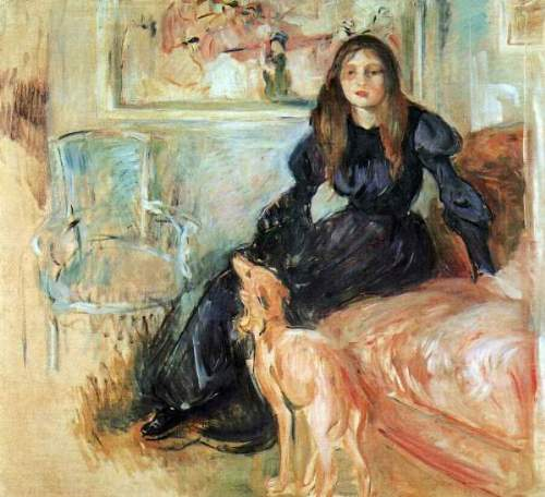 Morisot - Julie Manet and her greyhound Laertes