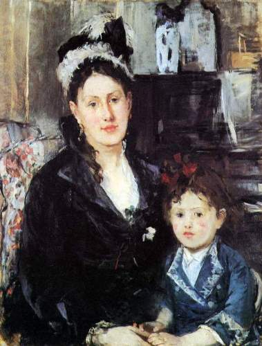 Morisot - Portrait of Mme Boursier and Daughter