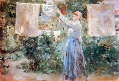 Morisot - The farmer hanging laundry