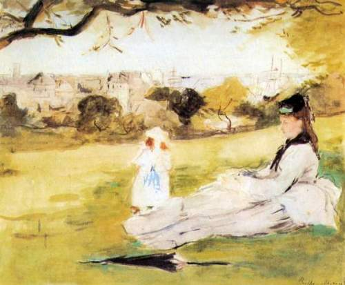 Morisot - Woman and child sitting in a field