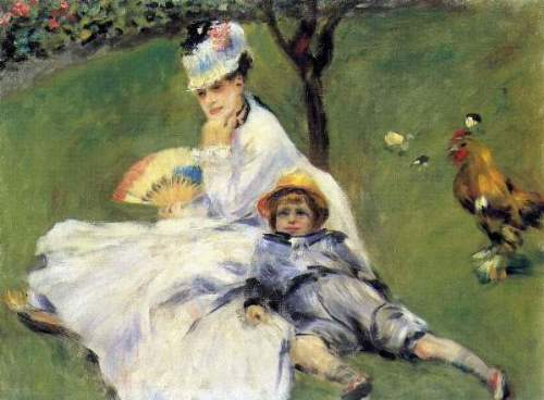 Renoir - Camille Monet and her son Jean in the garden of Argenteuil