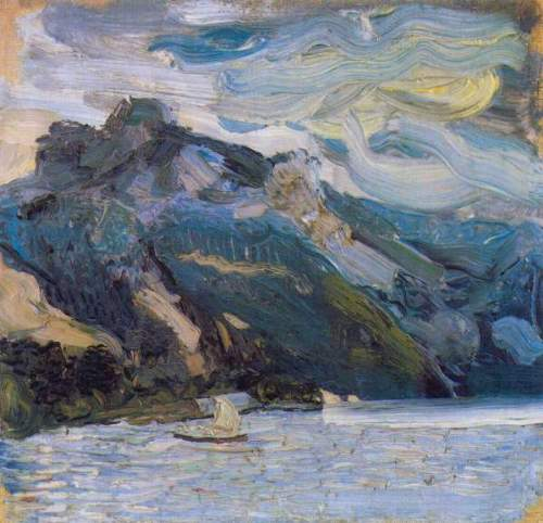 Richard Gerstl - Lake Traunsee with mountains
