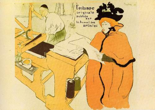 Toulouse-Lautrec - Jane Avril checking a print sample