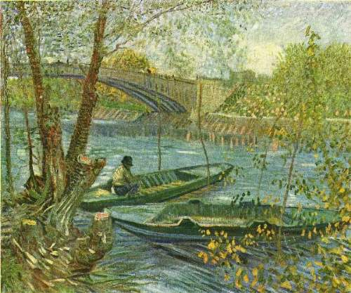 Van Gogh - Angler and boat at the Pont de Clichy