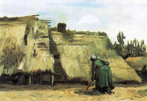 Van Gogh - Farmhouse with farmer digging