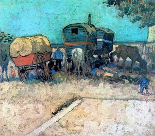 Van Gogh - Gypsy camp with horse carriage