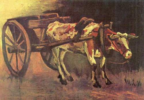Van Gogh - Ox carts with brown Ox