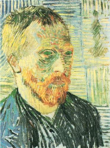 Van Gogh - Self-portrait with background of Japanese woodblock