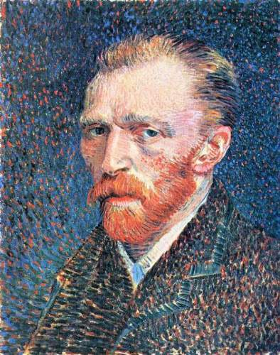 Van Gogh - Self-portrait with densely dotted background from right