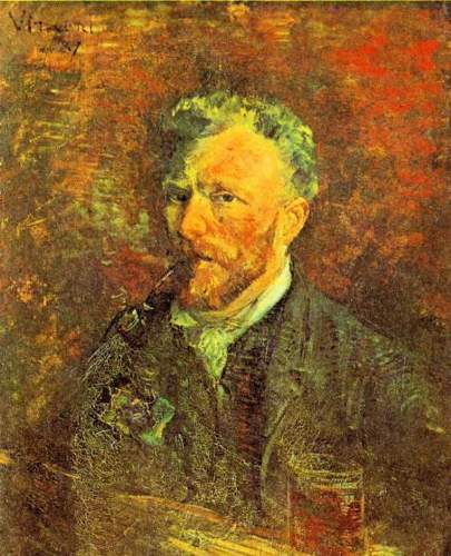 Van Gogh - Self-portrait, with pipe, at a table