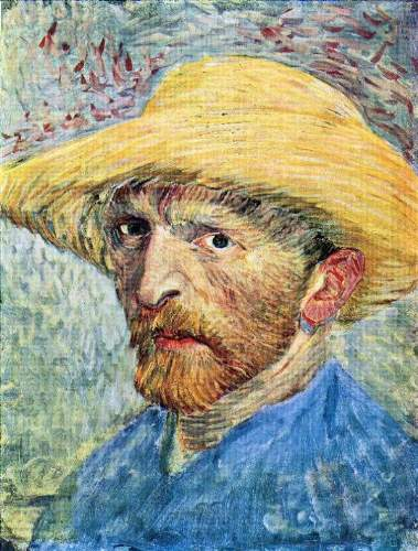 Van Gogh - Self-portrait, with straw hat and blue shirt