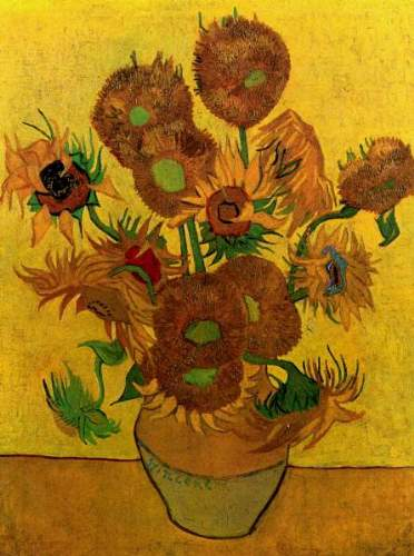 Still Life Vase with Fifteen Sunflowers