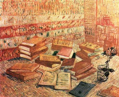 Van Gogh - Still Life with French novels, and glass with Rose