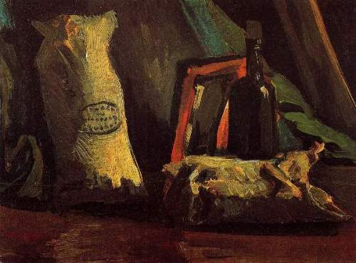 Still Life with Two Sacks and a Bottl