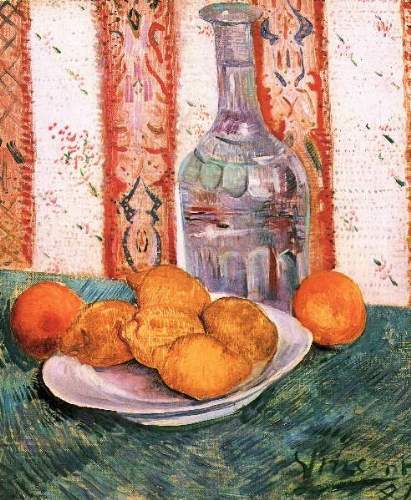 Van Gogh - Still life with bottle and lemons on a plate