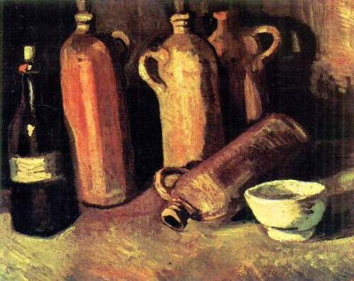Van Gogh - Still life with four jugs, bottle and a white bowl