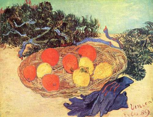 Van Gogh - Still life with oranges, lemons and blue gloves