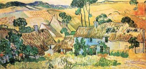 Van Gogh - Thatched houses in front of a hill