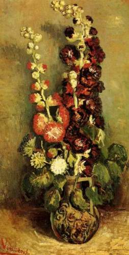 Vase with Hollyhocks