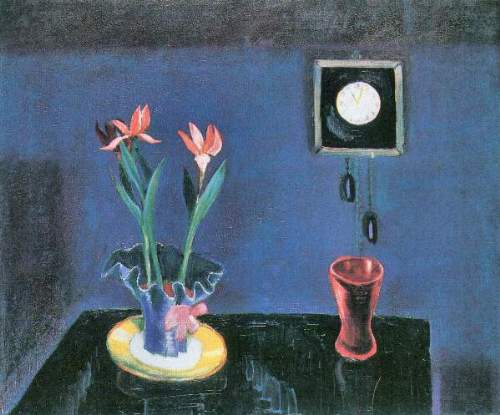 Walter Gramatte - Still life with clock and tulip pot