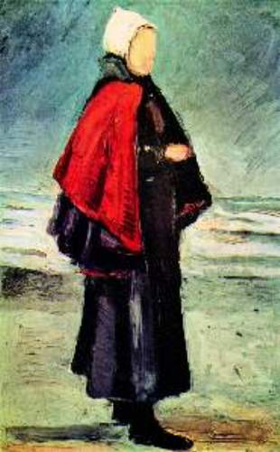 Fisherwoman on the shore