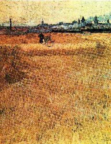 Wheat field with a view of Arles