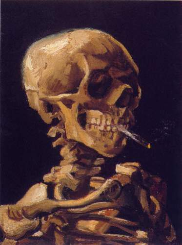 Skull with a Burning Cigarette